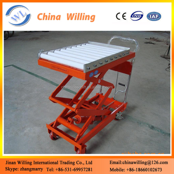 Hydraulic Scissor Lift Industrial Trolley Roller Conveyor