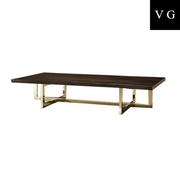 Fancy rectangle Black wood finish Top Modern Natural Coffee Table With Copper Plating Table Legs