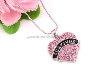 Fashion Silver Stone Engraved Survivor Heart Pendant Paved Pink Blue Rhinestone Snake Chain Necklace