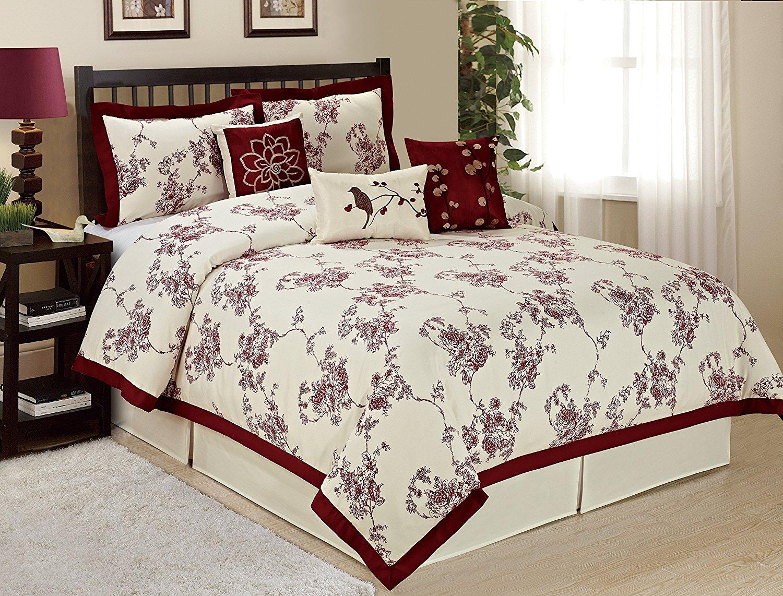 7 Piece SUNRISE Floral Printed Comforter Set Queen King CalKing Size (Queen, Burgundy)