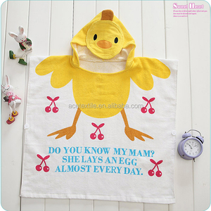 Sweet yellow duck cotton velour printed stock kids hooded towel