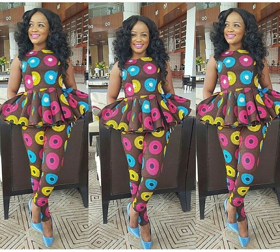 J0803 Wax African Print Two Piece Set Sexy Rompers Design