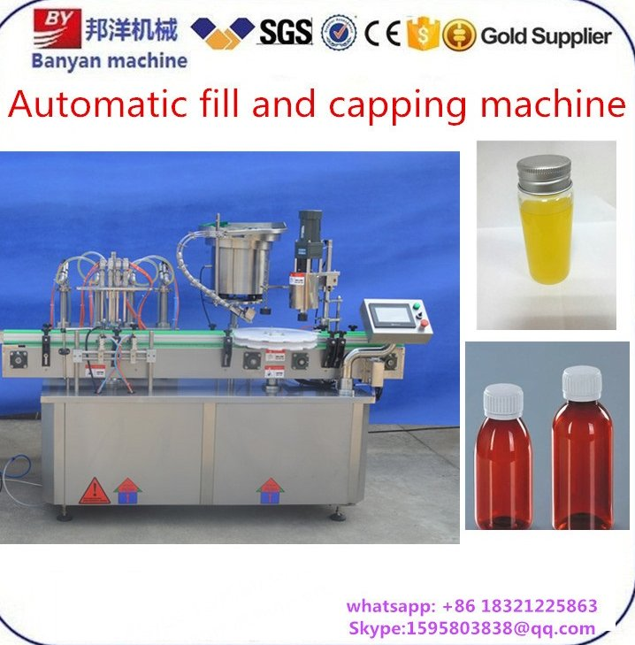 4 filling head CE certificate fruit juice / drinks / milk / wine lquid bottle filling and capping machine