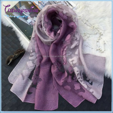 2017 new women's purple plain silk long scarf