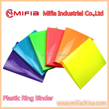 Office document colored Glossy PP plastic Ring Colorful Plastic Binder folders a4 a5 size