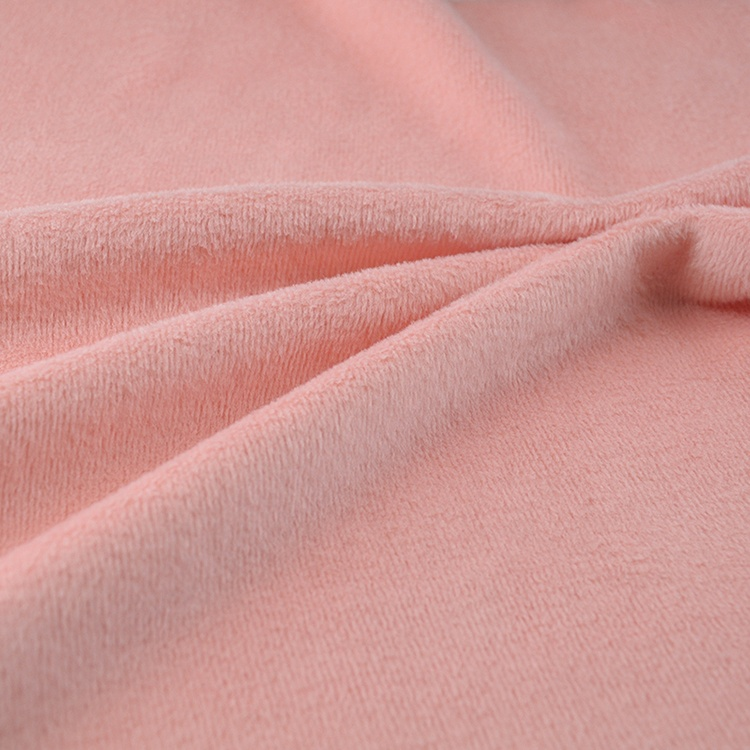 China solid cotton polyester knit CVC velvet fleece fabric for thermal garment