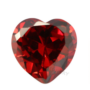 Wholesale synthetic garnet cz stone heart shape cubic zirconia stone
