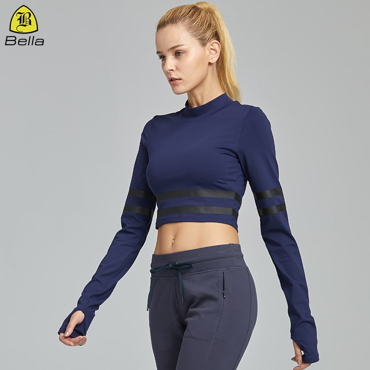 Female breathable sport wear long sleeves crop top off- set printing t-shirt yoga
