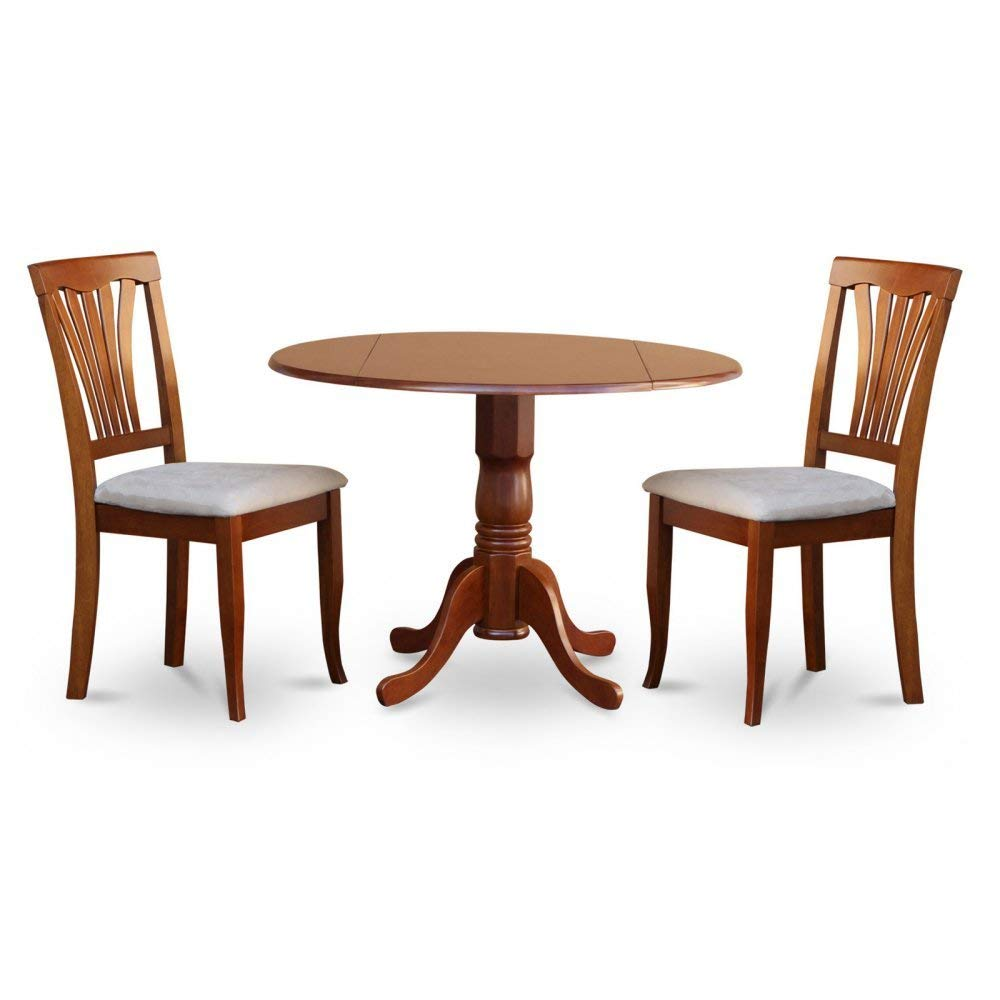 East West Furniture Dublin 3 Piece Drop Leaf Dining Table Set with Microfiber Avon Chairs