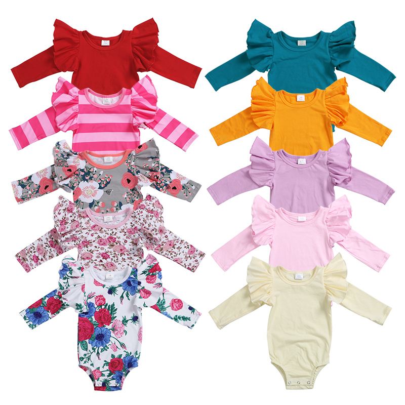Costume Design Newborn Romper wholesale Cotton baby wear clothes flutte Long sleeve jumpsuit girl baby romper