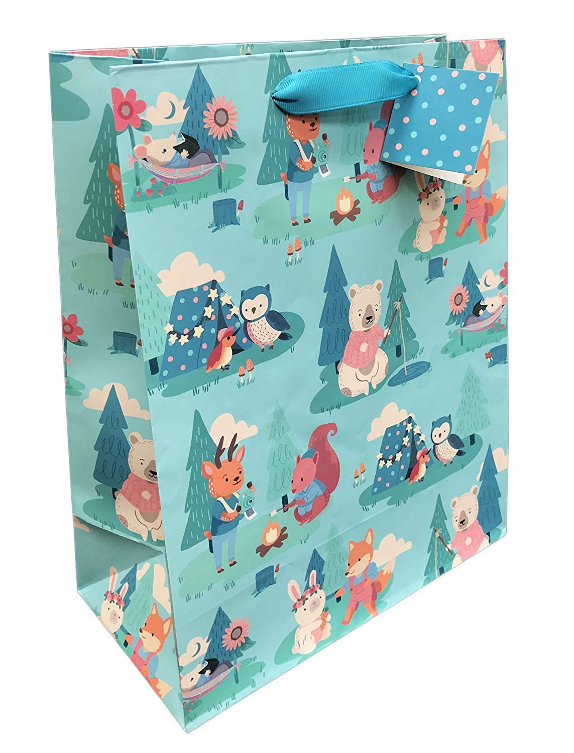 """Whimsical Camping Woodland Creatures Happy Birthday Celebration Party Gift Bag 12.75"""" x 10"""" x 5"""""""