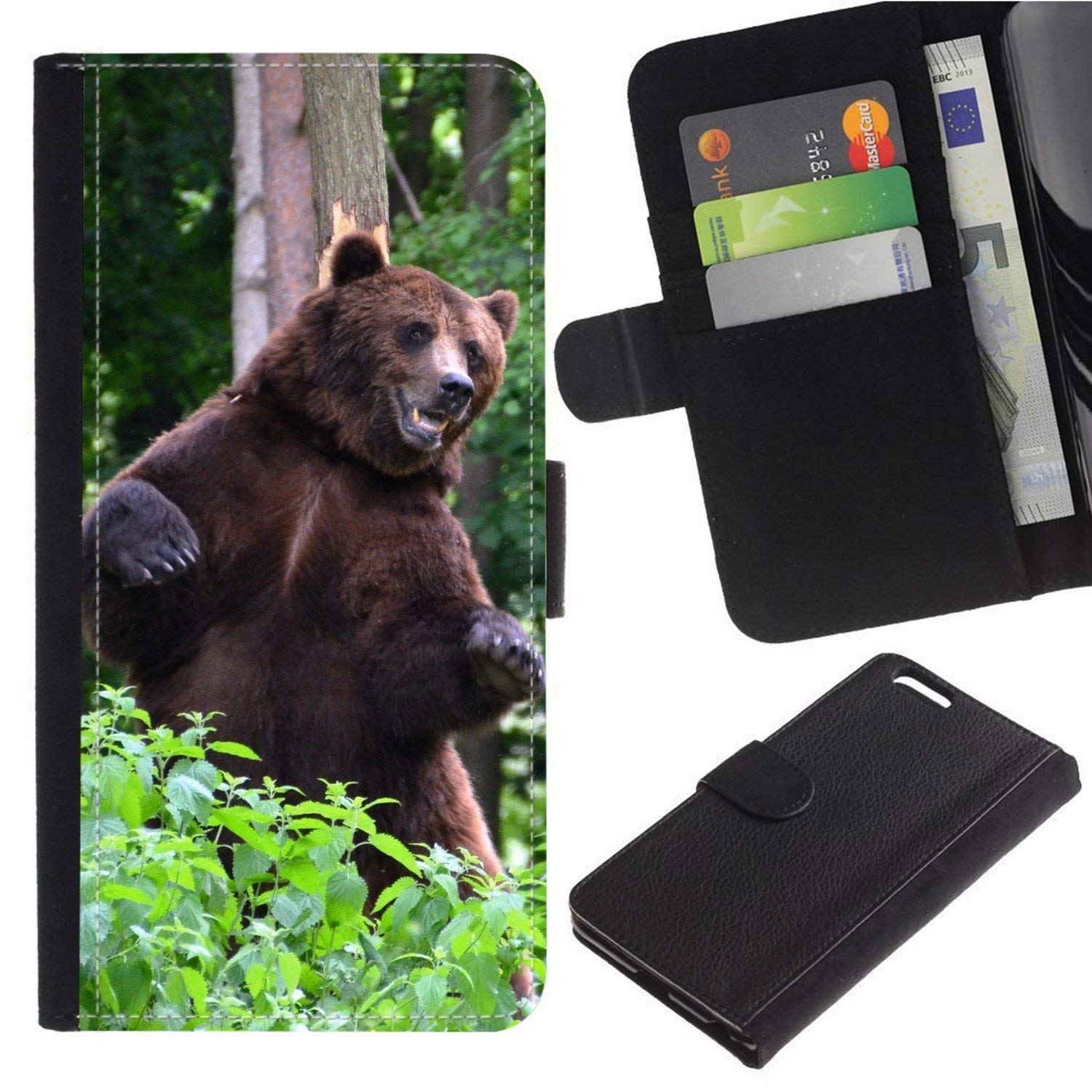 [Brown Bear/Grizzly] For Moto E5 Play/Moto E5 Cruise, Flip Leather Wallet Holsters Pouch Skin Case