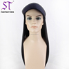 Fantasywig Guangzhou Hot Sale Invisible Natural Long Black Straight Fake Synthetic Hair German Wig With Hat For Women