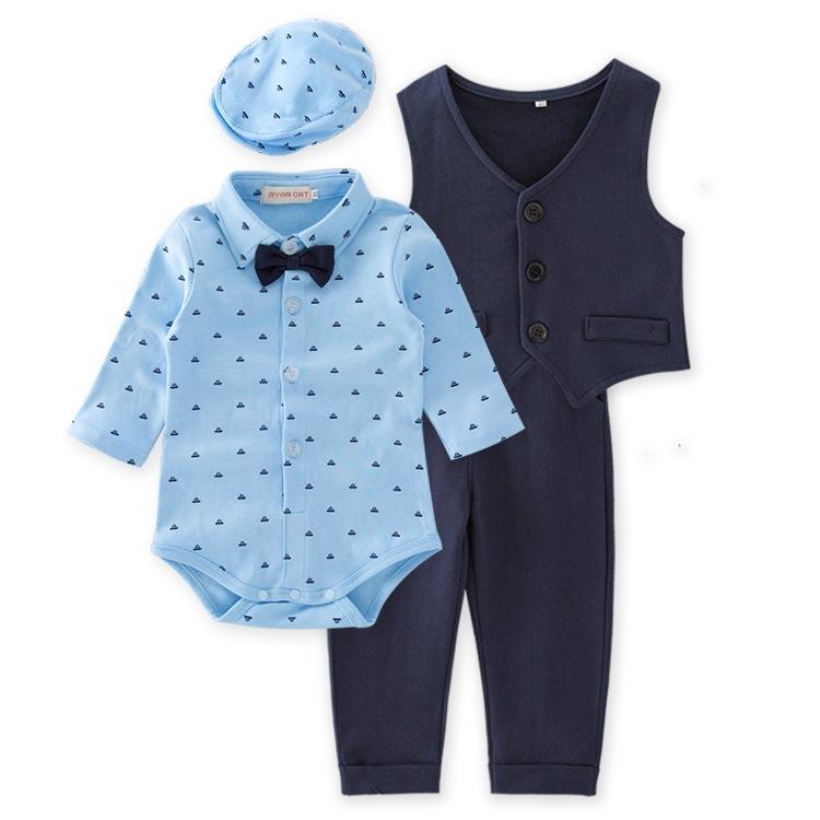 25d95db57 Baby Clothes China Supplier Gentleman Clothes 4 Pcs Baby Boy Blue Romper Cap  Waistcoat Pant Set