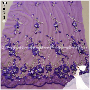 Handmade purple embroidery beaded crystal 3D flower lace clothing fabric