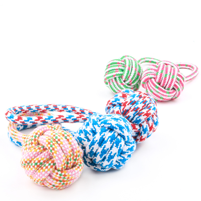 pet toys mixing color cotton rope dog tennis ball chew dog toys dog ball thrower