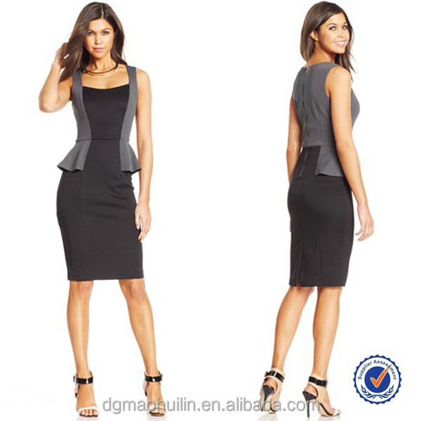 ladies office wear elegant sleeveless round neckline exposed back zip midi dress office dresses