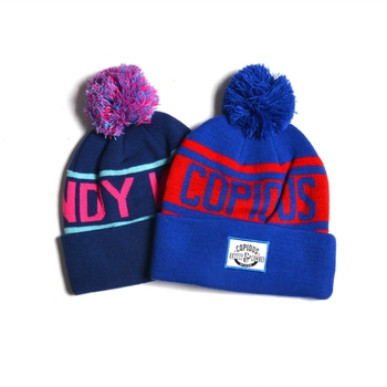 Brand quality cheap Jacquard Wholesale Custom Embroidery Woven Patch Beanies With Pom
