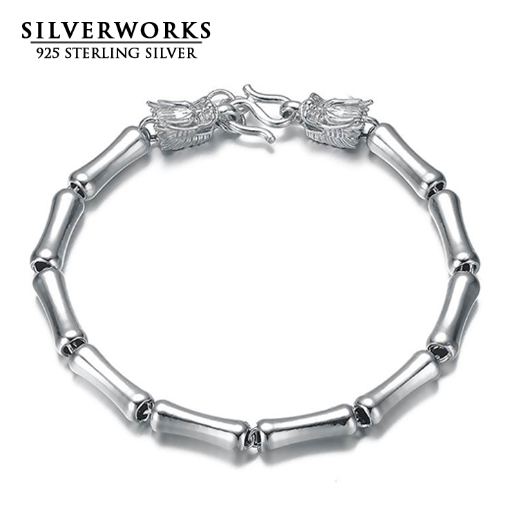 Wholesale 925 sterling silver double dragon head clasp bracelet for mens jewelry