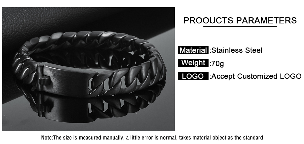 Wholesale High Quality Stainless Steel Men Male Black Chain Bracelet