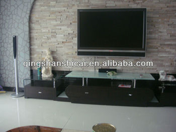 Stacked stone tiles outside wall tiles design tv wall for Tv wand stein