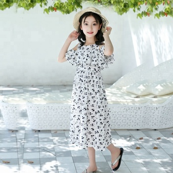 b4354a52471ff Bohemian style floral printed dresses for little girl 2018 summer new  design girl beautiful cute casual
