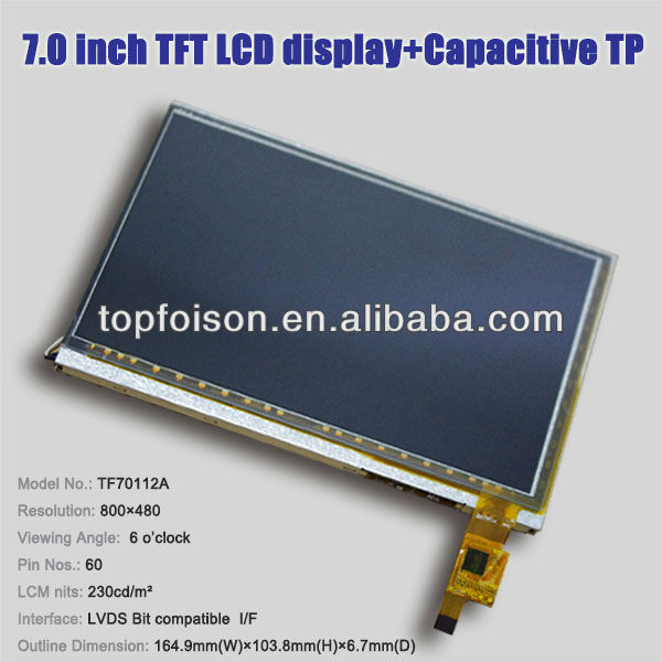 "7"" innolux tft lcd display 800x480 LVDS with capacitive touch panel"