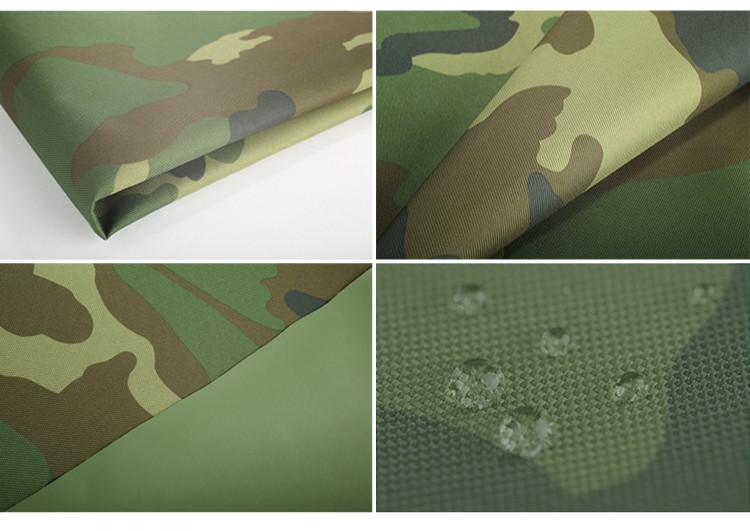 Camouflage canvas pvc coated polyester fireproof waterproof fabric for military tent