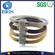 Shiny Diamonds Mesh Stainless Steel Latest Design Punk Cool Megnetic Clasp Bangle Wholesale