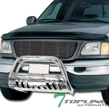 97-02 Expedition Topline Autopart Black HD Heavyduty Bull Bar Brush Push Front Bumper Grill Grille Guard w// Skin Plate 97-04 F150 F250 Heritage