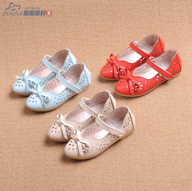 Spring Summer 2016 Designer Hollow Out Children Sandals Bowknot Flowers Kids Shoes Girl Single Shoes, Blue Pink Blue Eur26-36.