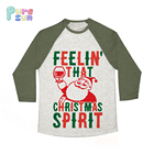 Children Christmas Clothes Santa Claus Decoration Printed Fabric Girls Long Sleeve Kids t shirts