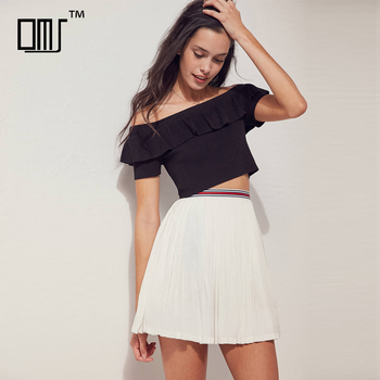 fe9c6b74d9662 Latest Pleated Short Skirts And Off Shoulder Ruffle Crop Tops Sets ...