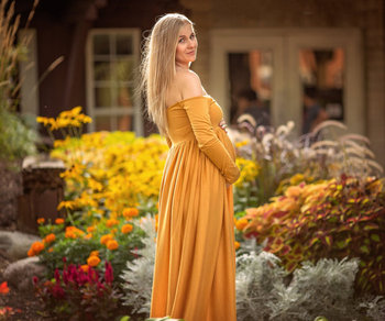 d2851b985156d Pregnant Women Maternity Dress For Photo Shoot Women Pregnancy Clothing  Long Maxi Mustard Ling Sleeve Gown