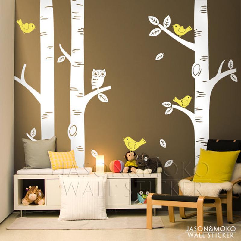 Aliexpress.com : Buy Large Owl Birds Birch Tree Wall Decal ...