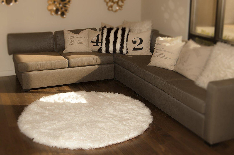 white round area rug. 7\u0027 Diameter White Round Area Rug / Plush Faux Fur Fake Shaggy Sheepskin Throw