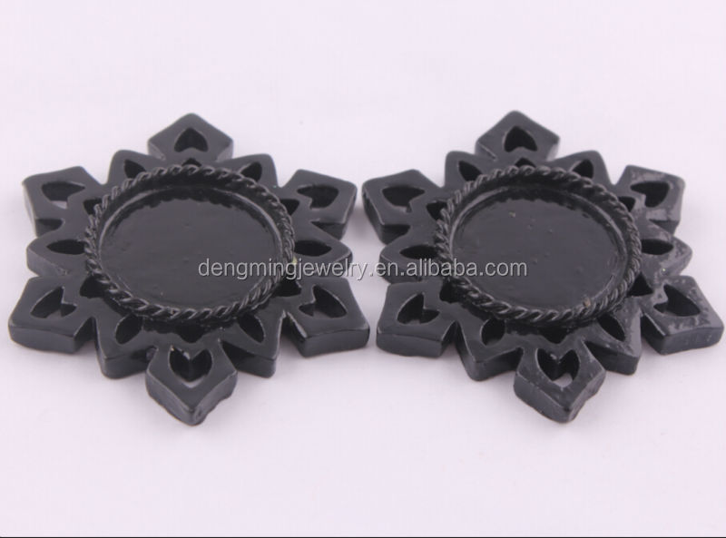 Black 55MM Snowflake Flatback Resin Cameo Base Setting For Jewelry Decoration Accessory