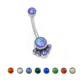 Titanium Internally Threaded Belly Piercing Opal Paw Navel Belly Button Ring