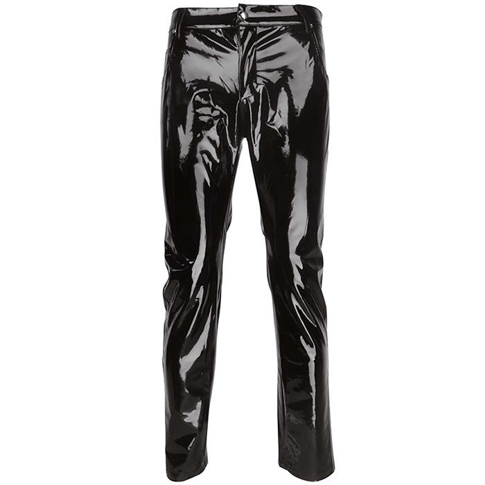 Sexy Pantalones De Cintura Baja Para Los Hombres Mojado De Vinilo Cremallera Pantalones De Cuero De Imitacion De La Moda Mas Tamano Polo Baile Fetiche Pantalones De Los Hombres Buy De