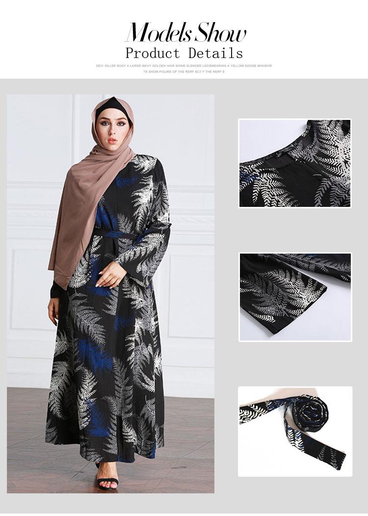 Women sexy Arabic Dubai thobe dress leaves pattern cheap muslim dresses abaya islamic clothing with scarf hijab