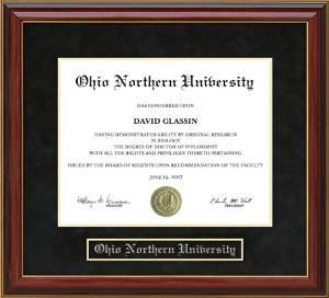 Ohio Northern University (ONU) Diploma Frame with Hardwood and UltraSuede Matting