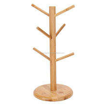 Wooden Coffee Mug Tree Tea Cup Holder Stand Mug Storage Rack With 6 Hooks Home Storage And Organization