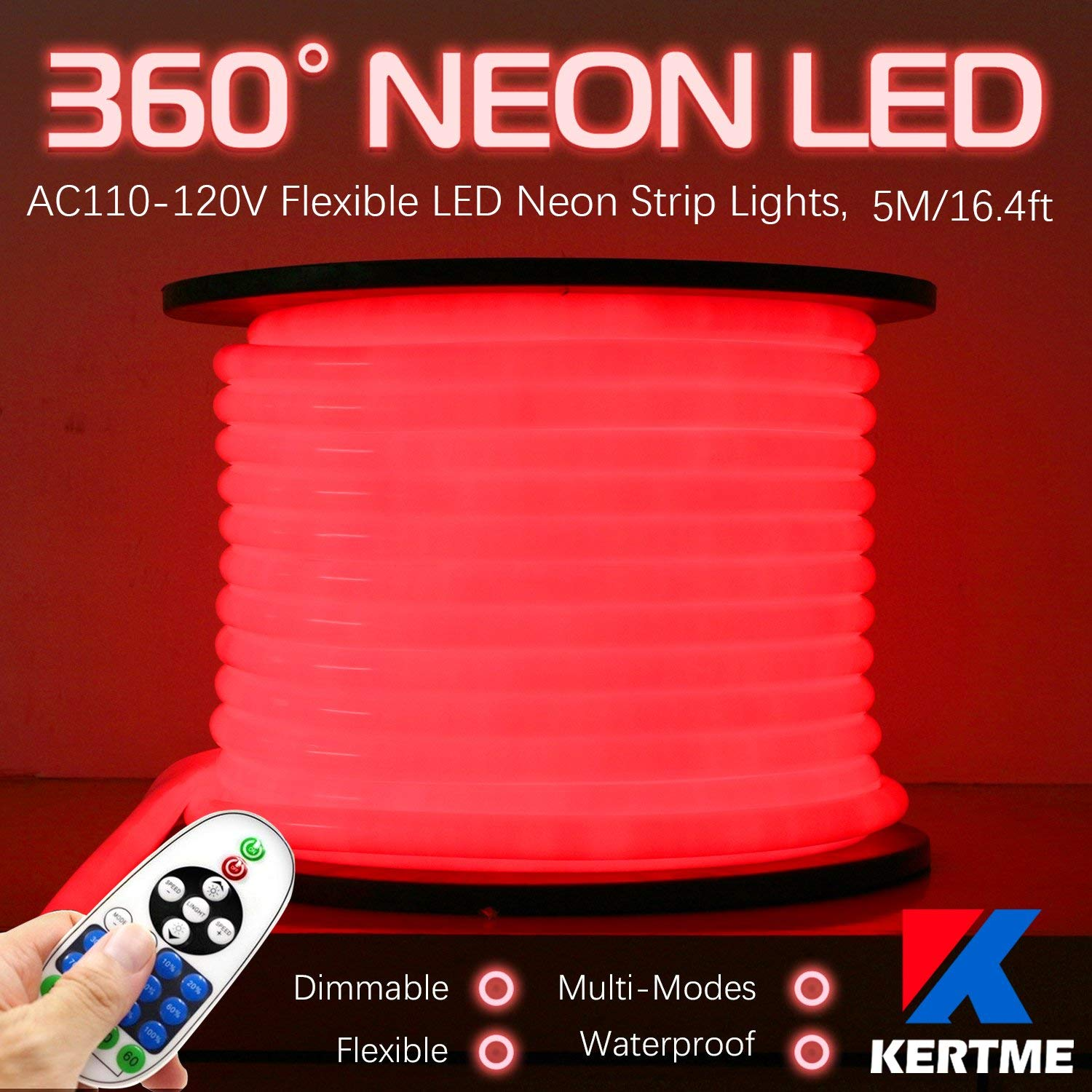 KERTME 360° Neon Led Type AC 110-120V 360 Degree NEON LED Light Strip, Flexible/Waterproof/Dimmable/Multi-Modes LED Rope Light + Remote for Home/Garden/Building Decor (16.4ft/5m, Red)