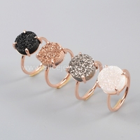 Prong set Rose gold druzy stone ring