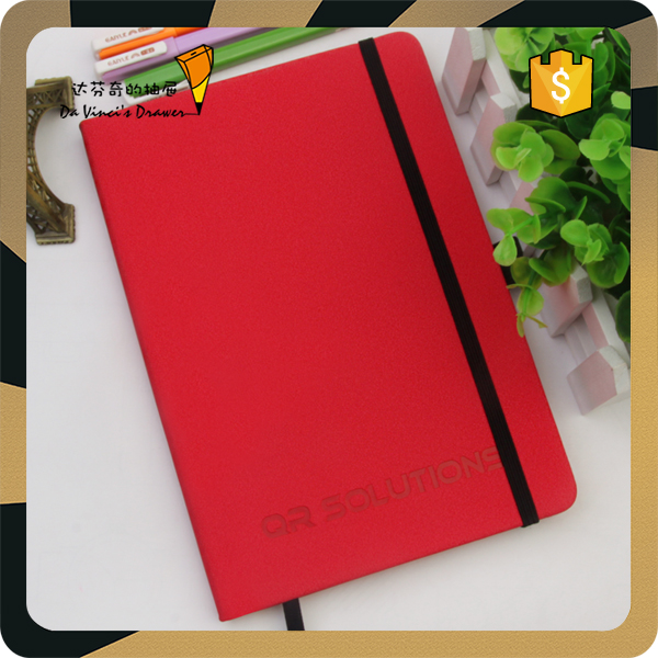 2016 Personalized A5 PU leather cover logo embossed diary journal notebook with back pocket