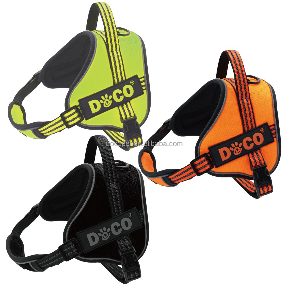 New Hight Quality reflective nylon sport harness dog Large Black