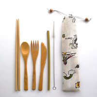 Portable Organic Reusable Bamboo Cutlery Travel Set With Spoon Fork Knife