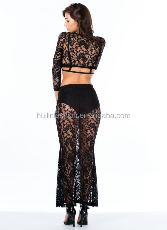 2014 ladies suits lace design lace blouse and skirt long