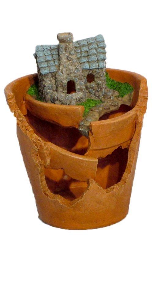 "Provence PF2876 Fairy Garden Miniature Plant Polyresin Pot with Solar light, 7"" x 6"" x 9"", Clay"