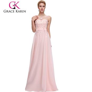 Grace Karin Sleeveless V-back Light Pink Chiffon Plus Size Evening Dress  Cl007555-1 - Buy Elegant Plus Size Chiffon Dress,Plus Size Evening ...